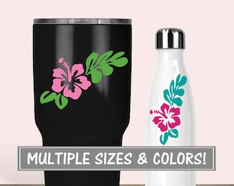 Hibiscus Flower Yeti Decal for Tumbler, Hibiscus Decal Stickers Preppy, Floral Decal Glitter Yeti Decal, Vinyl Stickers for Water Bottle
