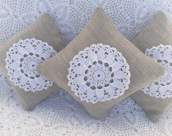 Lavender Sachet Linen with Crochet Wedding Favor Gifting Gift for friend Housewarming laundry freshener wardrobe organizer gift under 15