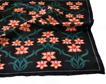 Orchid Silk Pocket Square / Wedding Accessory / Floral Pocket Square / Black Pocket Square / Silk Neckerchief