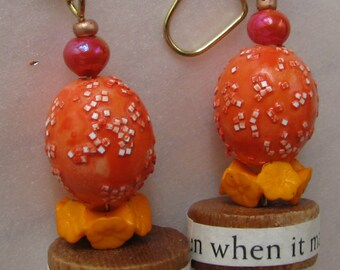 remembering Joy Unusual text earrings with inspiring message