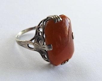 Antique Art Deco Sterling Carnelian Ring