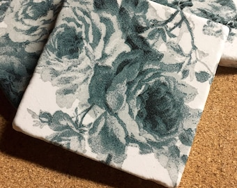 Rose Coasters ~ Floral Coasters ~ Natural Stone Tile Coasters ~Coasters ~ Set of 4 Stone Coasters
