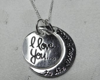"""I Love You to The Moon and Back - Pendant Sterling Silver on 16/18"""" chain"""