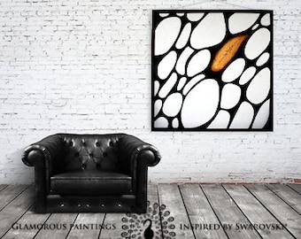 Cellular art with Swarovski® crystal art. Swarovski home decor ALIVE. Black & white art. Large contemporary art. Organic art