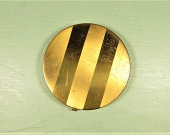 Gold Tone Stripe Compact - Vintage Makeup Powder Round Screen Pouf