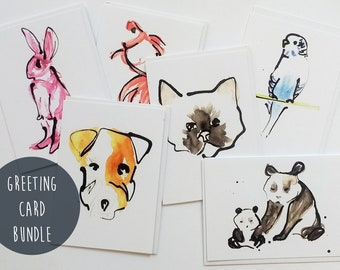 6 Card Set, Greeting Card Bundle, Mix and Match, Assorted Cards, Birthday Cards, Blank Cards, Combo Pack, Happy Mail, Snail Mail, Sale.