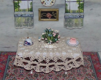 Table and Lace Cloth for 1:12th Dollhouse.  Sold Separately.  Hand Crocheted Cloth.  Painted Pedestal Table. Perfect for a Wedding.