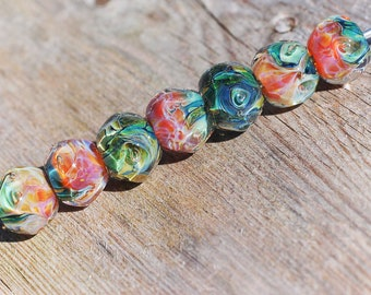 Lampwork BORO glass beads (7), borosilicate glass beads, handmade borosilicate lampwork glass beads, yellow, orange, green. borosilicate SRA