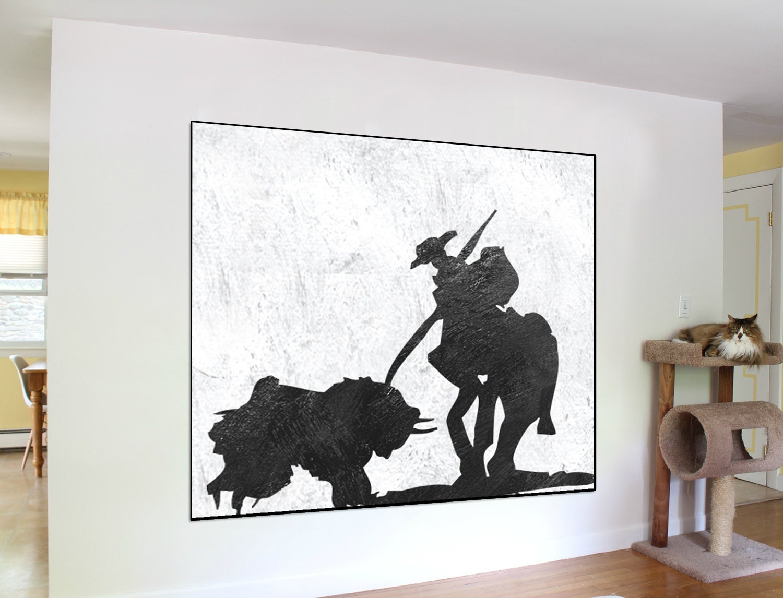 Große Acryl-Malerei Cowboy zeitgenössische Wandkunst