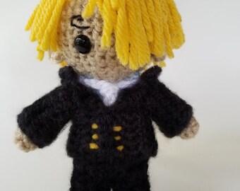 "Amigurumi Sanji-inspired 6"" crochet doll"