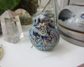 """Spell Bottle Ceramic Raku Talisman """"Tree Of Life"""" Pendant Fluorite And Sodalite Sterling Silver Pentagram - Earth & Wind - by Silla - SB1"""