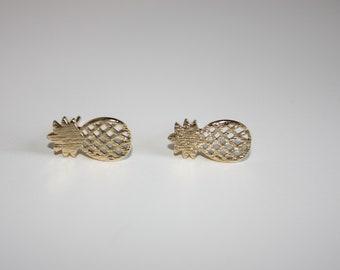 Pineapple earrings - gold pineapple studs - pineapples - gold earrings - beach earrings - summer studs - dainty studs -