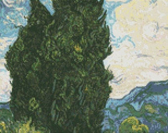 Cypresses Cross Stitch Pattern PDF, Landscape Cross Stitch Chart, Art Cross Stitch, Vincent van Gogh, Embroidery Chart