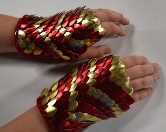 Scale Mail Gauntlets in Red and Gold size Medium