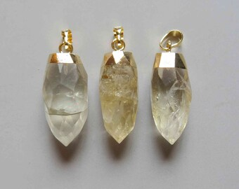 Pear Shape Faceted Golden Color Dipped Citrine Pendants  - B1167