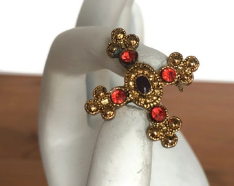 Vintage Byzantine cross brooch red stone black enamel gold tone metal