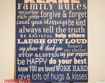 Family Rules Sign - Personalized Family Rules Sign - Wood Engraved Sign - House Rules - Words to Live By