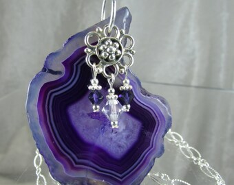 Statement necklace purple agate slice with Sterling silver and Swarovski crystal