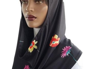 Koul SHôl Hoodie™ Multi Floral Print Cowl Hoodie Fully Lined Veil Devotional Head Hoodie Veil Hoodie Hijab Hoodie Handmade