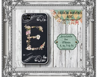 Floral Chalkboard iPhone Case, Flower iPhone Case with Monogram, Personalized iPhone, iPhone 4, 4s, iPhone 5, 5s, 5c, iPhone 6, 6S, 6 Plus