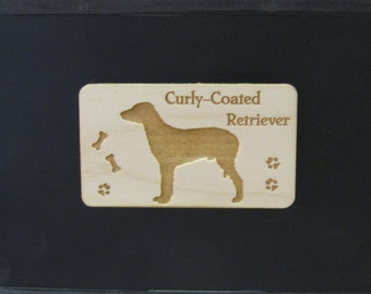 Original Design Curly-Coated Retriever Wood Magnet