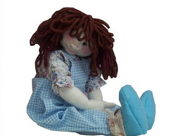 Lottie cute cloth doll sewing pattern.  14 inches (35cm) tall.