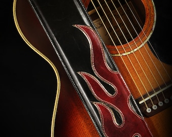Leather Guitar Strap:  Mithril Flame Guitar Strap