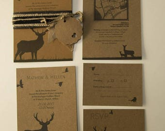 Brown rustic & nature inspired wedding inviations