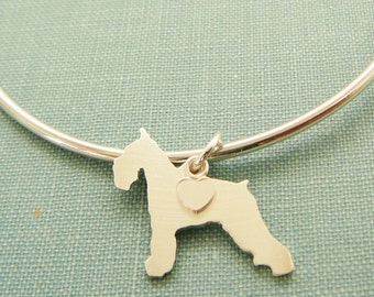 Schnauzer Dog Bangle Bracelet, Sterling Silver Personalize Pendant, Breed Silhouette Charm, Rescue Shelter, Mothers Day Gift