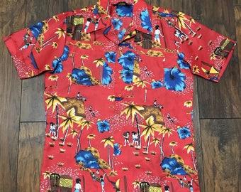 Vintage Red Hawaiian Aloha Tiki Luau Polyester Casual Shirt Mens Size S Small