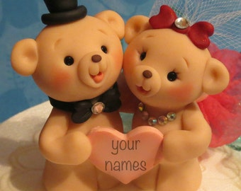 Teddy Bear Personalized Honey Bears Wedding Cake Topper Decoration Animal Cake Topper with Gift Box