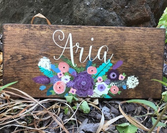 Personalized Floral Girl Sign