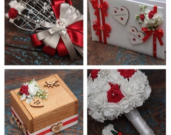 Wedding posy and personalised accessory set