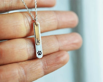 Dog paw necklace Paw print necklace Pet jewelry initial necklace personalized name jewelry hand stamped pet lovers pet sympathy bar necklace