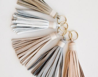 Leather Tassel / Gold Keychain / White Grey Pink Blush Nude