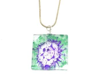Splash Resin Pendant, Resin Necklace, Handmade Jewellery, Natural Jewellery, Birthday Gift,