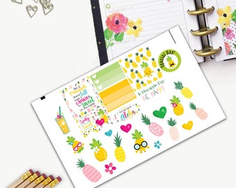 Pineapple Day Theme One Day Small Planner Sticker Set, All Happy Planner Stickers, Stickers, Printed, Cut, Functional Sticker, Flamingo