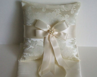 "Ring Bearer Pillow ""RAPTURE "" In Brocade Ring Boy Choose White or Ivory Ring Pillow"