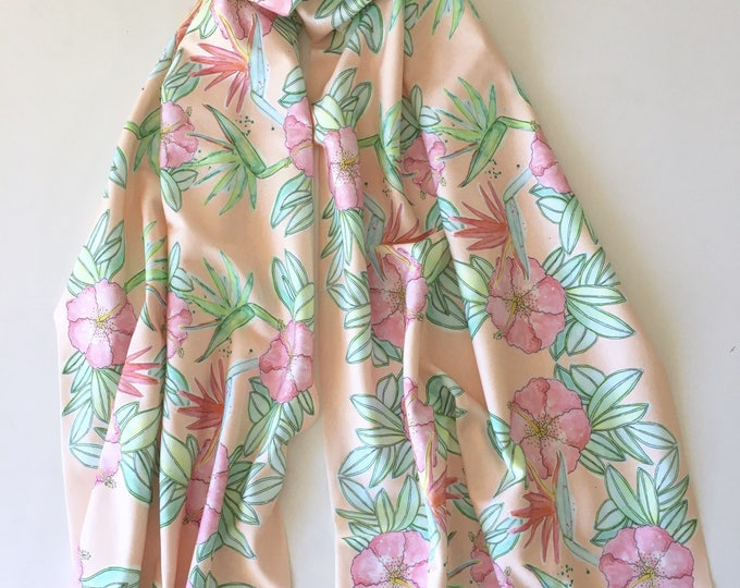 Organic cotton tropical flower coral scarf sarong