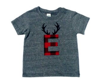 Lumberjack Letter And Antlers,Fabric Iron On Appliques,You Choose Your Own Letter