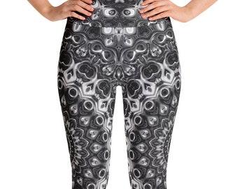 Black Leggings High Waist Yoga Pants, Black and White Mandala Leggings, Festival Rave Wear, Clubwear