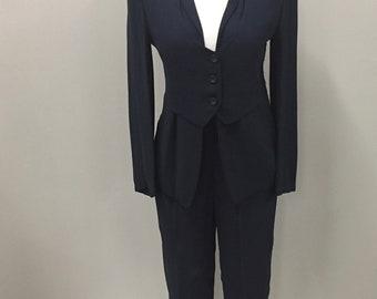 GIORGIO ARMANI Woman's Navy Pant Suit- Women's Designer Suit- Size 4