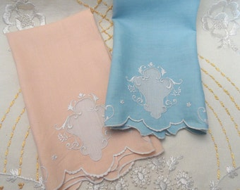 Blue and peach set of vintage guest hand towels / embroidered linen towel pair, set
