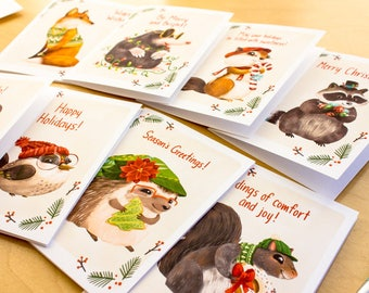 Holiday Greeting Cards Set: Christmas, Xmas, Holiday, Woodland Animals - Hedgehog, Mouse, Bird, Fox, Mole, animal cards, forest animals
