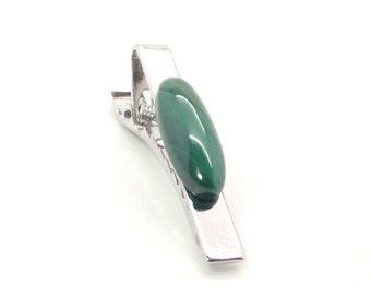 Malachite Tie Clip, Malachite Tie Bar, Green Tie Clip, Green Tie Bar