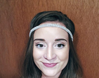 Simple Minimal Rhinestone Bridal Headband; Elastic Bridal Headpiece; Single Strand Bridal Headband; Updo Wedding Headpiece; Simple Bride