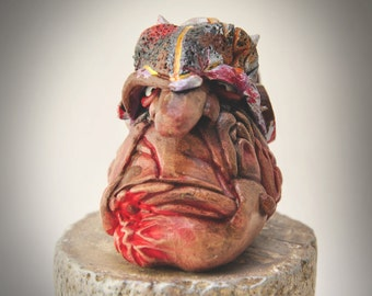 """SALE: """"Cragg""""  (hand-crafted sculpey & acrylic paint)"""