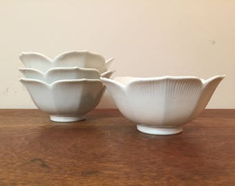 "50% SALE *** Four White 6"" Glass Lotus Bowls"