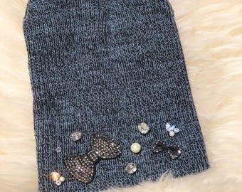 Grey Pewter Embellished Jeweled Beanie Hat