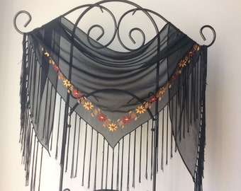 Vintage 90's Black Sheer Embroidered Tiangle Scarf Shawl with Fringe